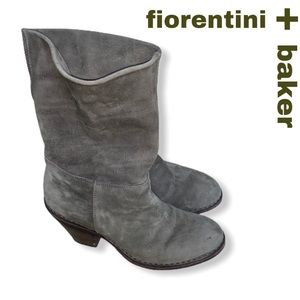 FIORENTINI + BAKER Olive Suede Cuffed Booties